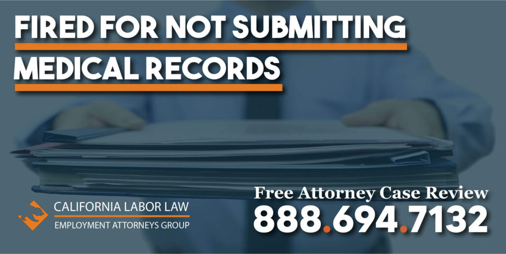 fired for not submitting medical records sue lawsuit compensation discriminate reimbursement