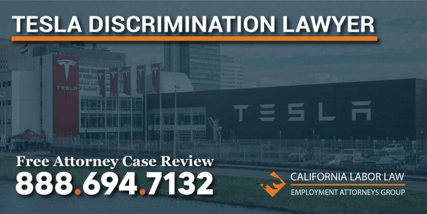 tesla discrimination lawyer sue attorney racist culture pregnancy race medical leave